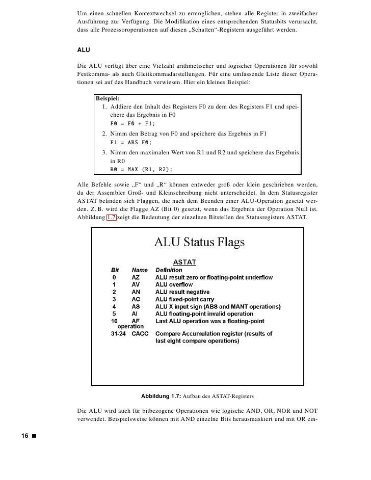 zelne Bits gesetzt werden. Außerdem kann mit XOR kontrolliert werden, in welchen Posi- tionen sich zwei Register untersche...