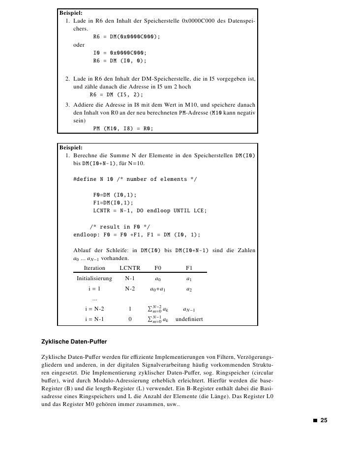 Abbildung 1.13: Beispiel eines zyklischen Puffers        Nach Initialisierung der B und L-Register wird zuerst die Basisadr...