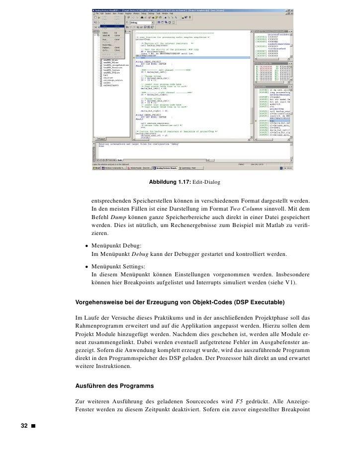 Abbildung 1.18: Session-Dialog   erreicht wird, hält die Ausfühung an, und alle Ausgabefenster werden aktualisiert. Mit SH...
