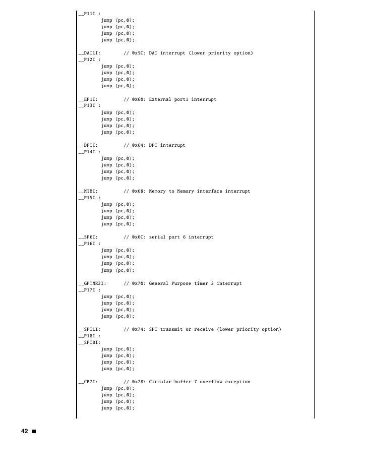 __CB15I:             // 0x7C: Circular buffer 15 overflow exception            jump   (pc,0);            jump   (pc,0);   ...