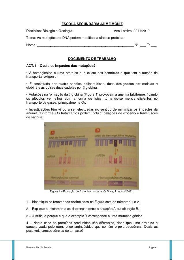ESCOLA SECUNDÁRIA JAIME MONIZDisciplina: Biologia e Geologia                                           Ano Lectivo: 2011/2...