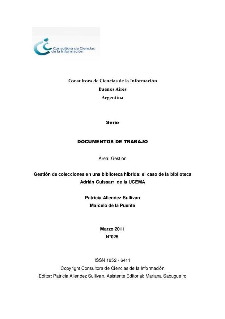 Consultora de Ciencias de la Información                                Buenos Aires                                  Arge...
