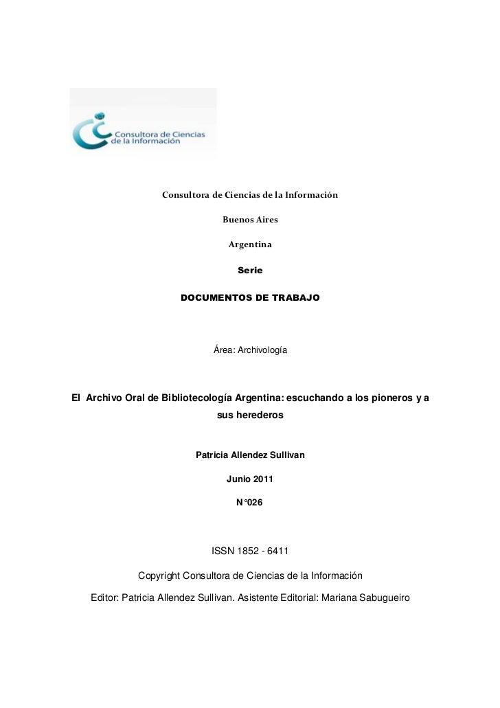 Consultora de Ciencias de la Información                                  Buenos Aires                                    ...