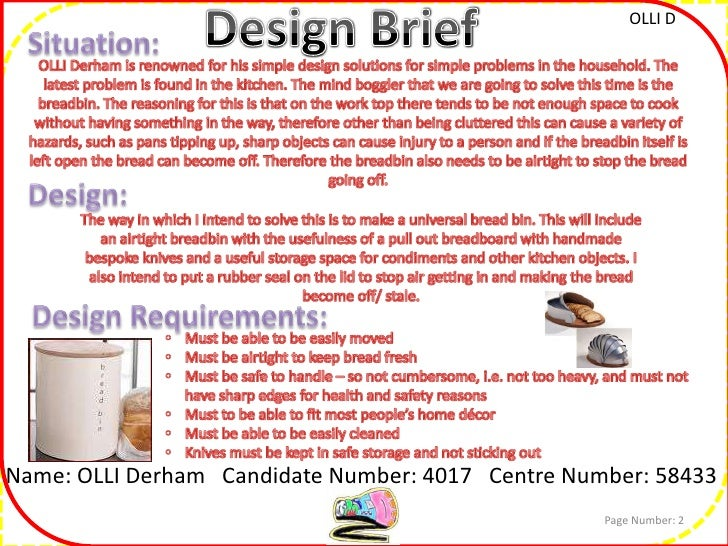 write a design brief giving specifications and constraints