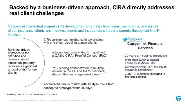 Backed by a business-driven approach, CIRA directly addresses  real client challenges  Capgemini intellectual property (IP...