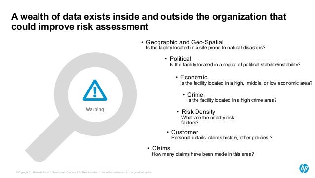 A wealth of data exists inside and outside the organization that  could improve risk assessment  • Geographic and Geo-Spat...