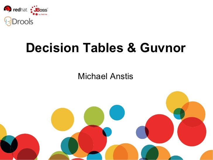 Michael Anstis Decision Tables & Guvnor
