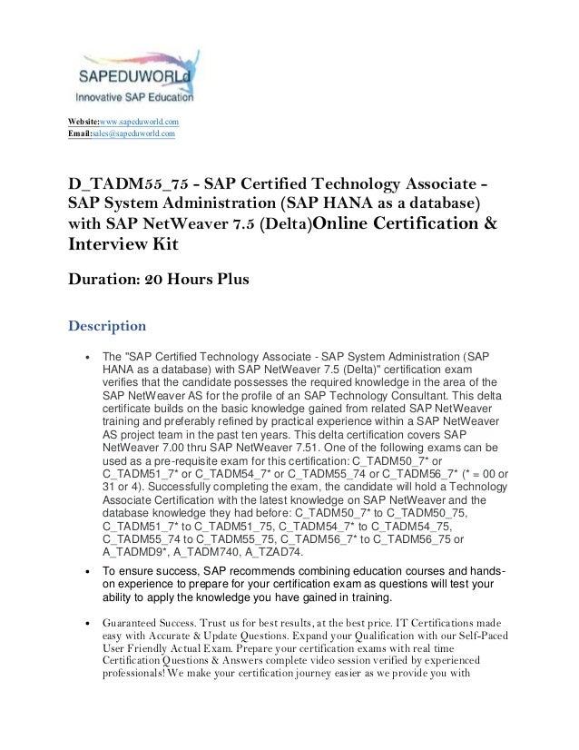 Dtadm5575 Sap Certified Technology Associate Sap System Adminis