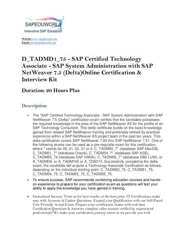 D_TADMD1_75 - SAP Certified Technology Associate - SAP System Adminis…
