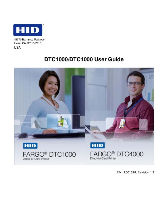15370 Barranca Parkway Irvine, CA 92618-2215  USA  DTC1000/DTC4000 User Guide  P/N: L001398, Revision 1.3