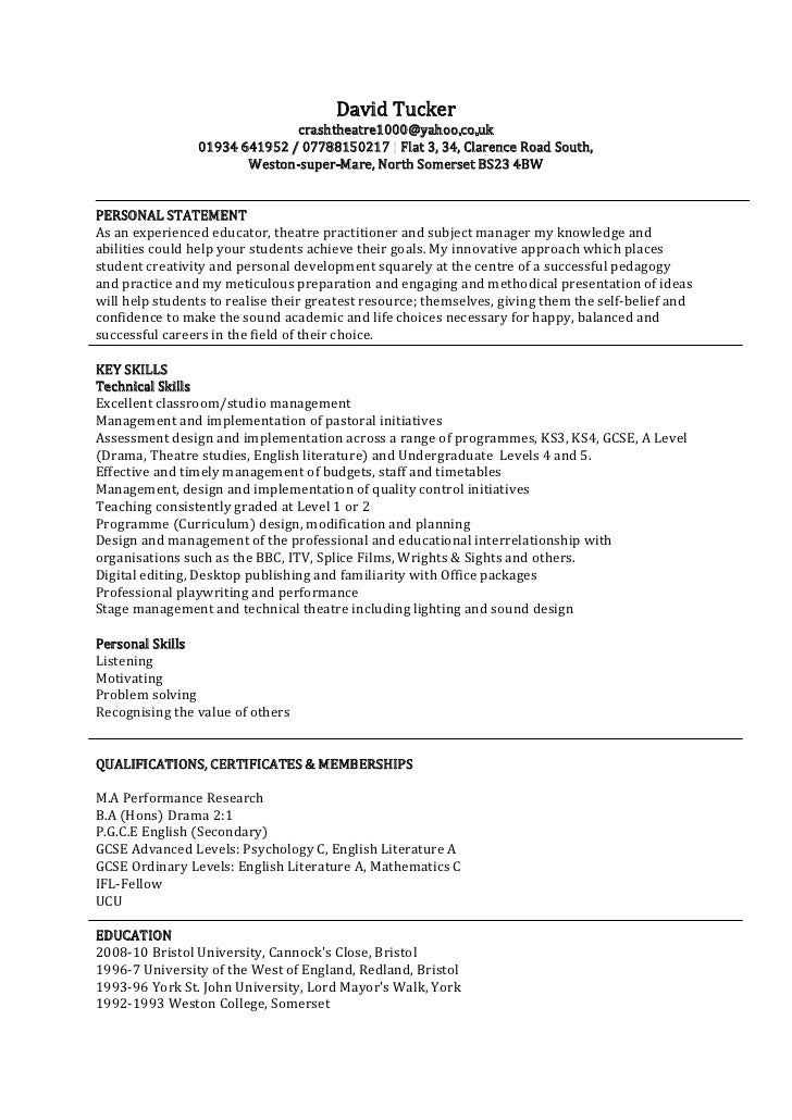Personal statement writing template