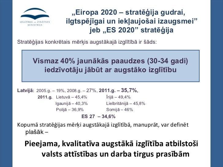 """""""Eiropa 2020 – stratēģija gudrai,                      ilgtspējīgai un iekļaujošai izaugsmei""""                             ..."""