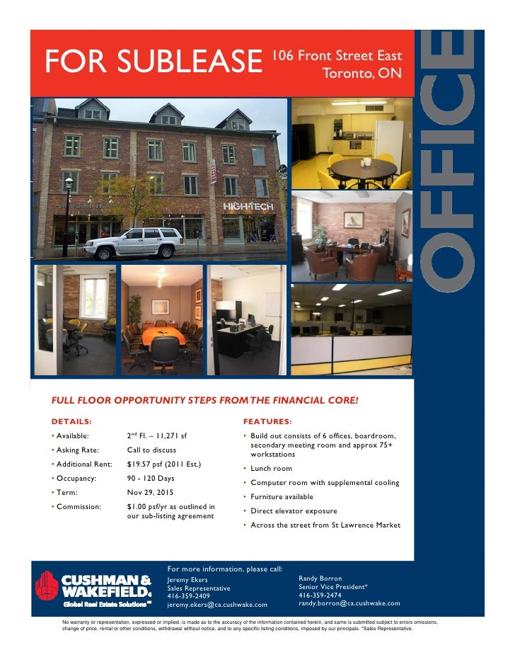FOR SUBLEASE                                                                                   106 Front Street East      ...