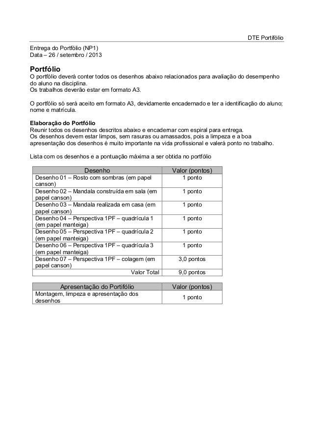 DTE Portifólio Entrega do Portfólio (NP1) Data – 26 / setembro / 2013 Portfólio O portfólio deverá conter todos os desenho...