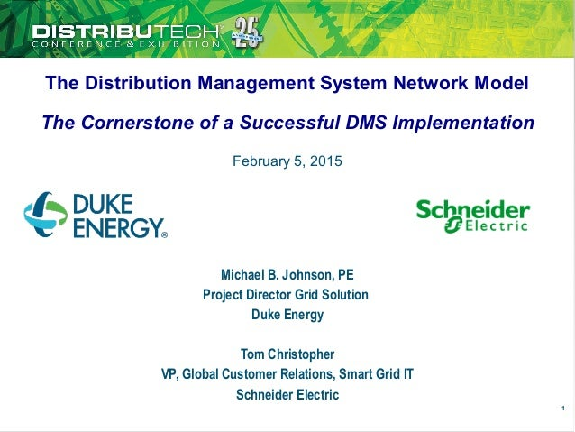 The Distribution Management System Network Model The Cornerstone of a Successful DMS Implementation Michael B. Johnson, PE...