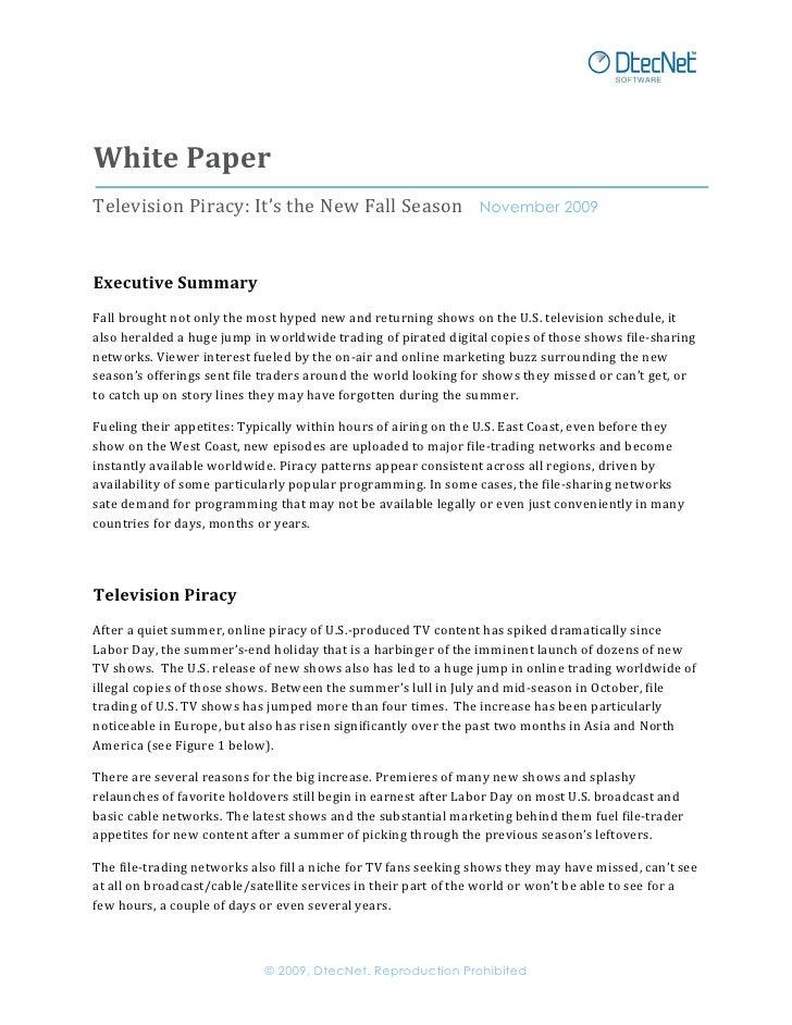 White  Paper   Television  Piracy:  It's  the  New  Fall  Season        November 2009       Ex...