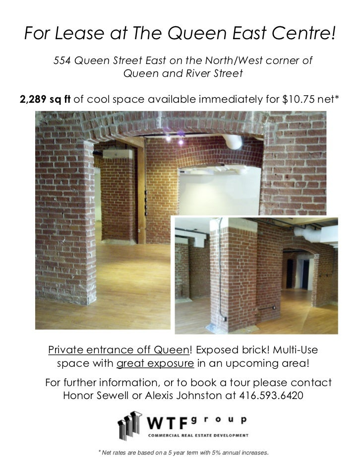 For Lease at The Queen East Centre!      554 Queen Street East on the North/West corner of                  Queen and Rive...