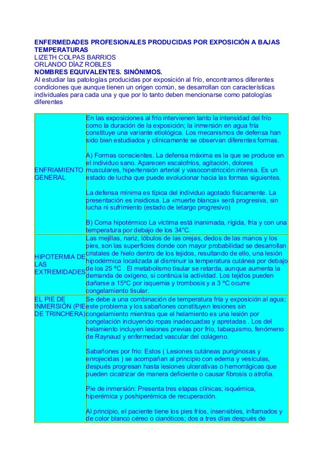 ENFERMEDADES PROFESIONALES PRODUCIDAS POR EXPOSICIÓN A BAJAS TEMPERATURAS LIZETH COLPAS BARRIOS ORLANDO DÍAZ ROBLES NOMBRE...