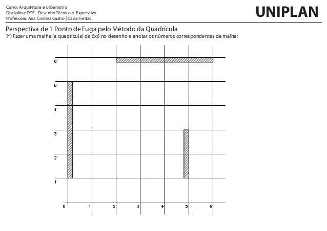 Perspectiva de 1 Ponto de Fuga pelo Método da Quadrícula 1º) Fazer uma malha (a quadrícula) de 6x6 no desenho e anotar os ...