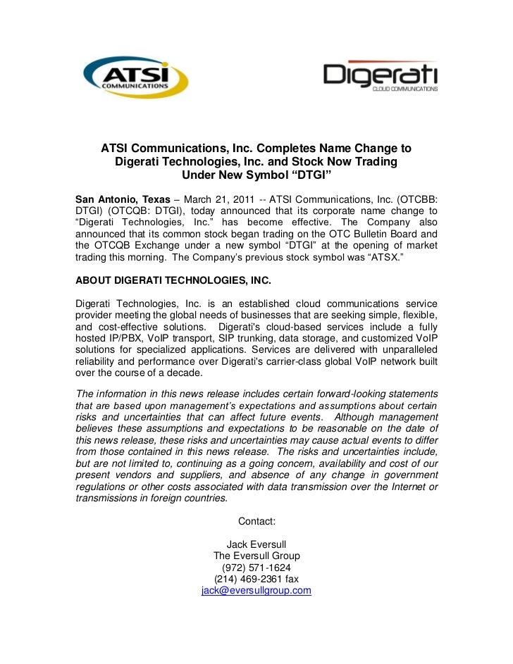Atsi Communications Inc Completes Name Change To Digerati Technolog