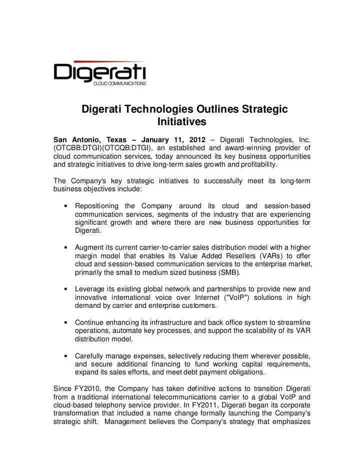 Digerati Technologies Outlines Strategic Initiatives