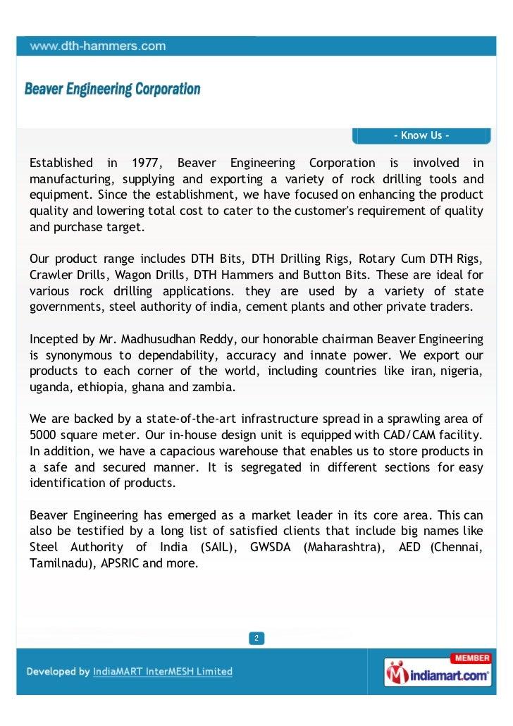 Beaver Engineering Corporation, Hyderabad, Tools and Equipment Slide 2