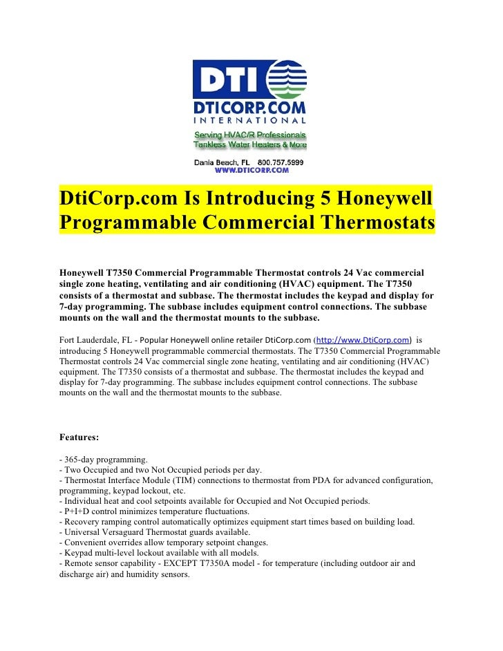 DtiCorp.com Is Introducing 5 HoneywellProgrammable Commercial ThermostatsHoneywell T7350 Commercial Programmable Thermosta...