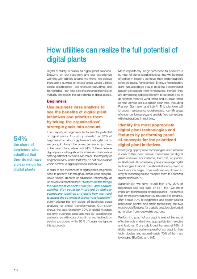 18 How utilities can realize the full potential of digital plants Digital maturity is crucial to digital plant success. Dr...