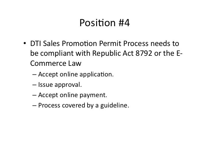 DTI Sales Promotion Guidelines: a proposed position on issues