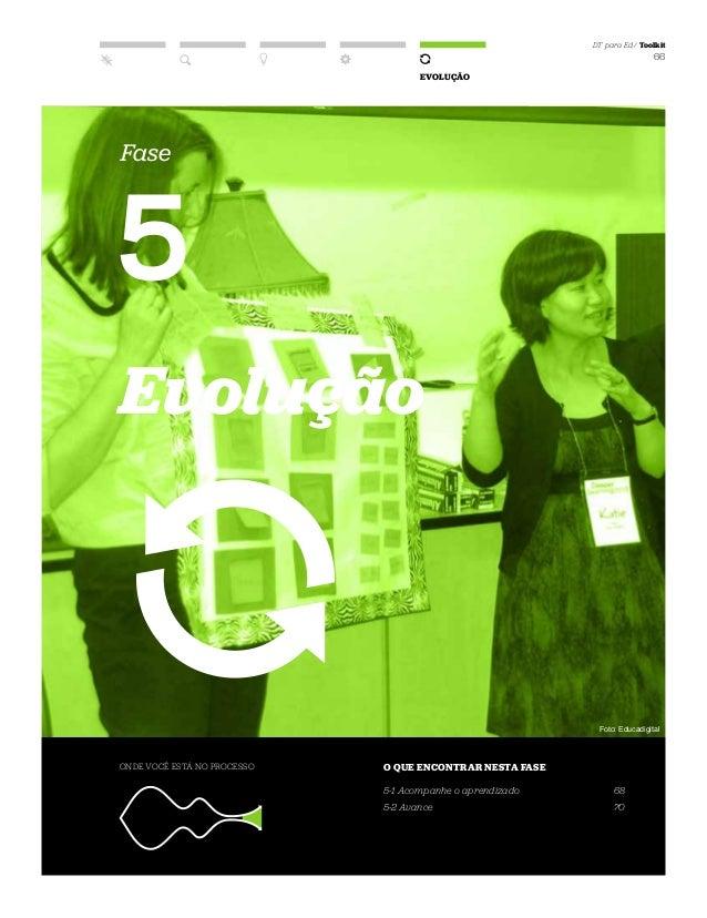 DT para Ed / Toolkit 66 EVOLUÇÃO Fase 5 Evolução ONDE VOCÊ ESTÁ NO PROCESSO O QUE ENCONTRAR NESTA FASE 5-1 Acompanhe o apr...