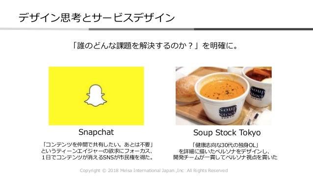 Copyright © 2018 Melsa International Japan ,Inc All Rights Reserved 「誰のどんな課題を解決するのか?」を明確に。 Snapchat Soup Stock Tokyo デザイン思...