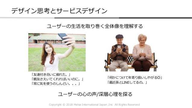 Copyright © 2018 Melsa International Japan ,Inc All Rights Reserved デザイン思考とサービスデザイン ユーザーの心の声/深層心理を探る ユーザーの生活を取り巻く全体像を理解する ...