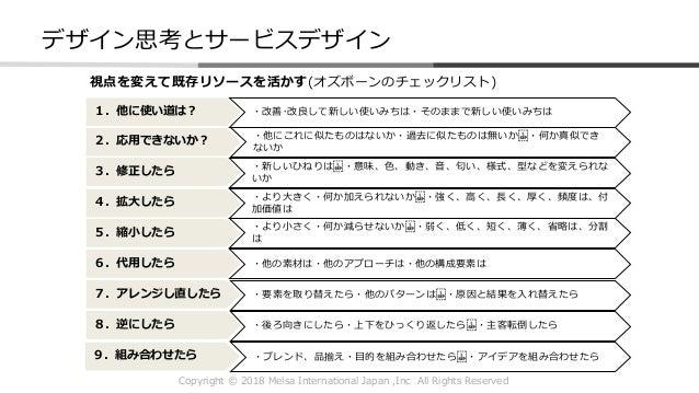 Copyright © 2018 Melsa International Japan ,Inc All Rights Reserved 1.他に使い道は? 2.応用できないか? 3.修正したら 4.拡大したら 5.縮小したら 6.代用したら 7...