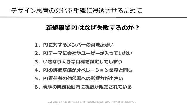 Copyright © 2018 Melsa International Japan ,Inc All Rights Reserved デザイン思考の文化を組織に浸透させるために 新規事業PJはなぜ失敗するのか? 1.PJに対するメンバーの興味...