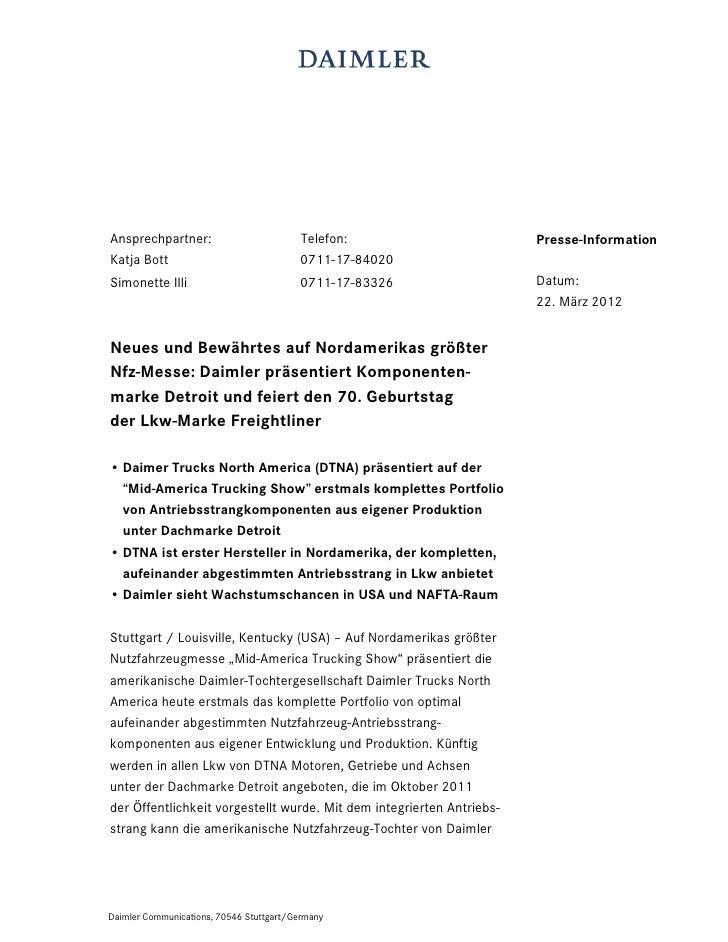 Ansprechpartner:                          Telefon:                     Presse-InformationKatja Bott                       ...