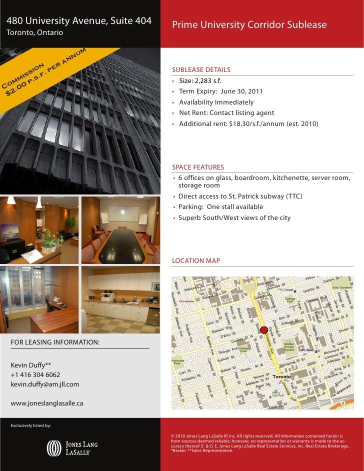 480 University Avenue, Suite 404                                          Prime University Corridor Sublease Toronto, Onta...