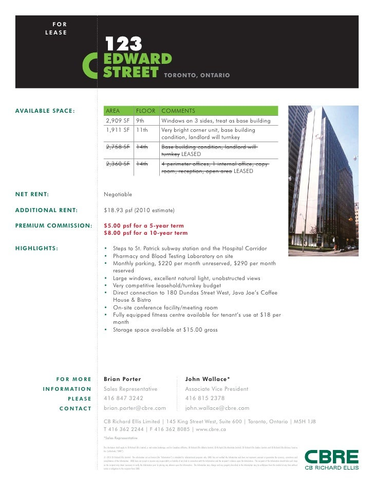 FOR        LEASE                              123                              EDWARD                              STREET ...