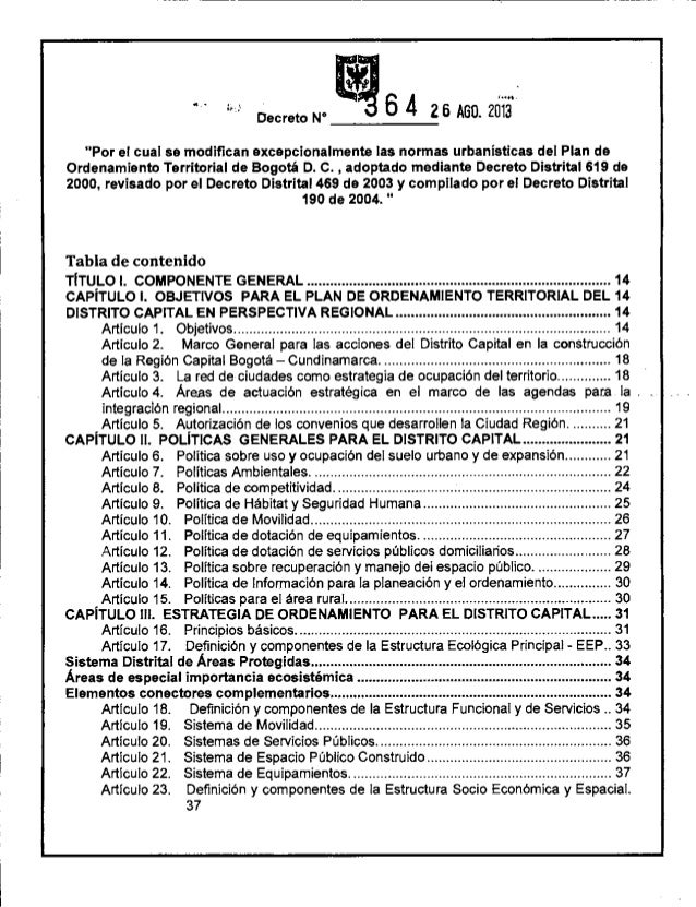 Decreto 364 2013-POT de Bogota