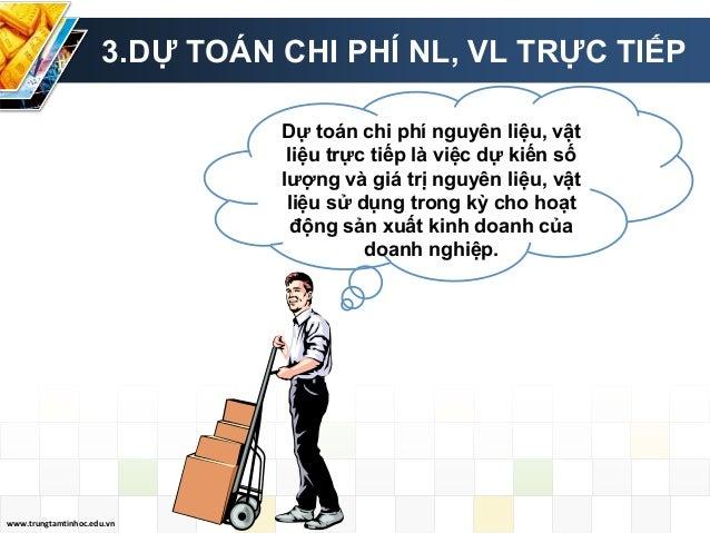 www.trungtamtinhoc.edu.vn 3.DỰ TOÁN CHI PHÍ NL, VL TRỰC TIẾP Dự toán chi phí nguyên liệu, vật liệu trực tiếp là việc dự ki...