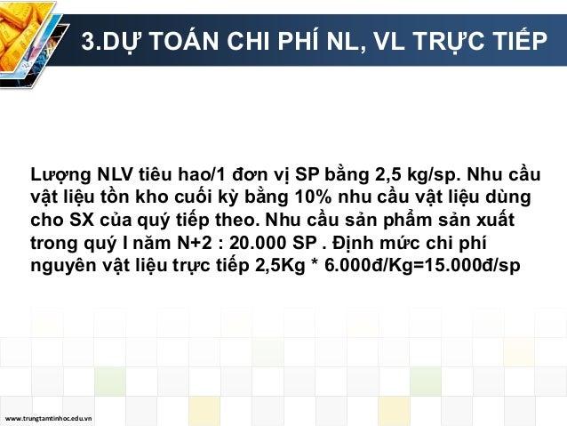 www.trungtamtinhoc.edu.vn 3.DỰ TOÁN CHI PHÍ NL, VL TRỰC TIẾP Lượng NLV tiêu hao/1 đơn vị SP bằng 2,5 kg/sp. Nhu cầu vật li...