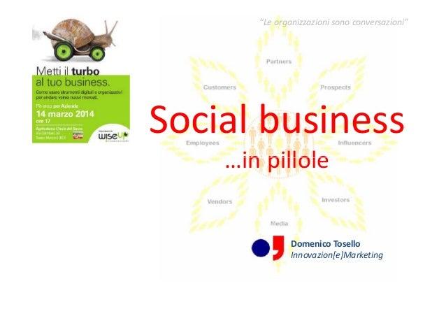 """Social business …in pillole """"Le organizzazioni sono conversazioni"""" Social business …in pillole Domenico Tosello Innovazion..."""