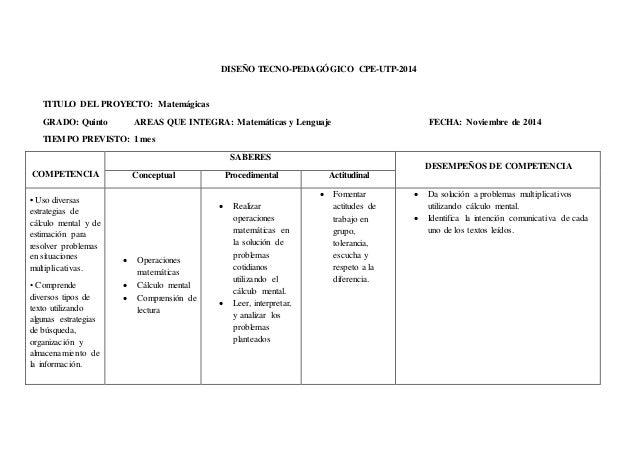 DISEÑO TECNO-PEDAGÓGICO CPE-UTP-2014  TITULO DEL PROYECTO: Matemágicas  GRADO: Quinto AREAS QUE INTEGRA: Matemáticas y Len...