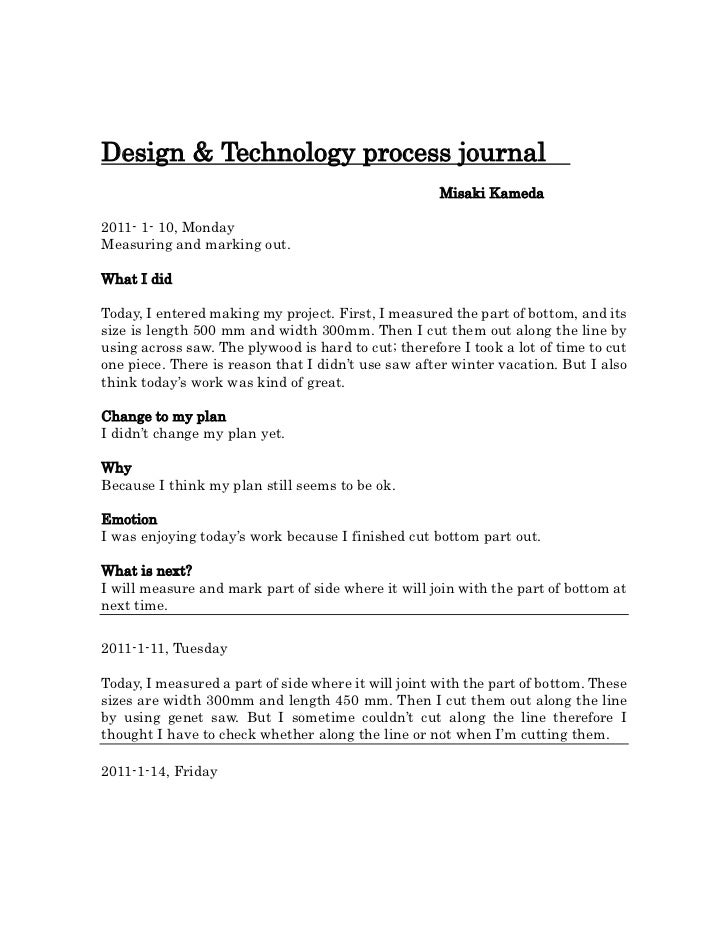 Design & Technology process journal  <br />                                                    <br />                     ...