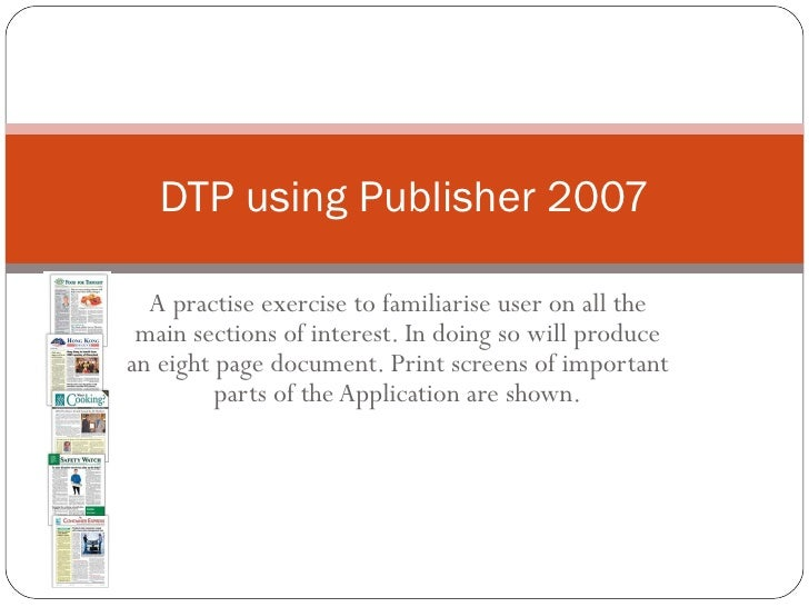 A practise exercise to familiarise user on all the main sections of interest. In doing so will produce an eight page docum...