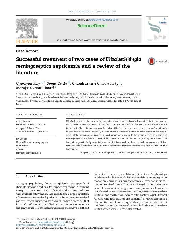Successful treatment of two cases of Elizabethkingia meningoseptica s…