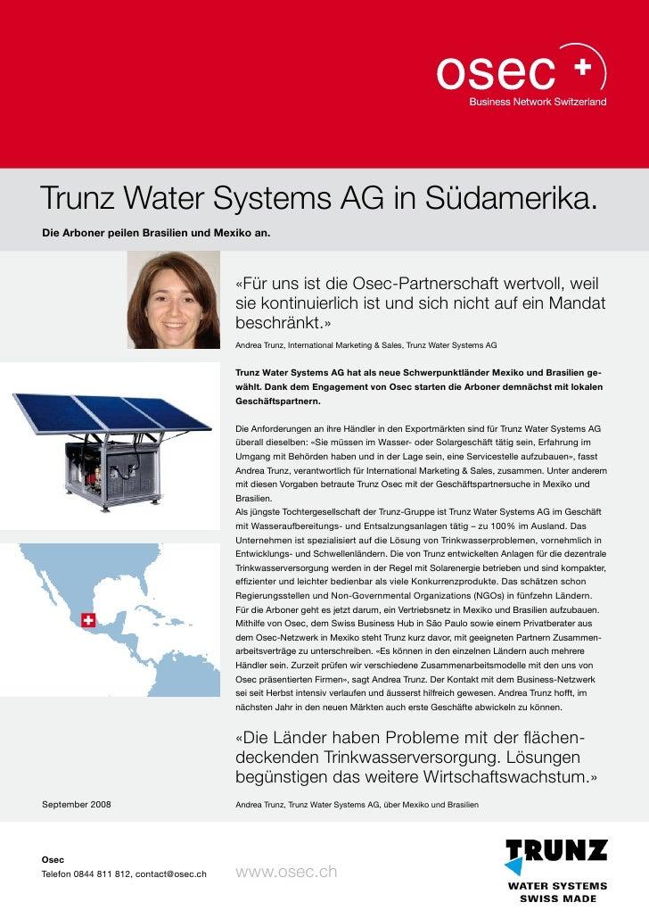 Trunz Water Systems AG in Südamerika.Die Arboner peilen Brasilien und Mexiko an.                                        «F...