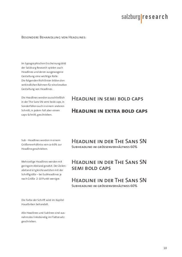 Besondere Behandlung von Headlines:  Im typographischen Erscheinungsbild der Salzburg Research spielen auch Headlines und ...