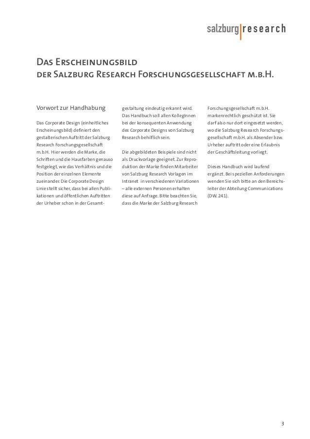 Das Erscheinungsbild der Salzburg Research Forschungsgesellschaft m.b.H.  Vorwort zur Handhabung  gestaltung eindeutig erk...