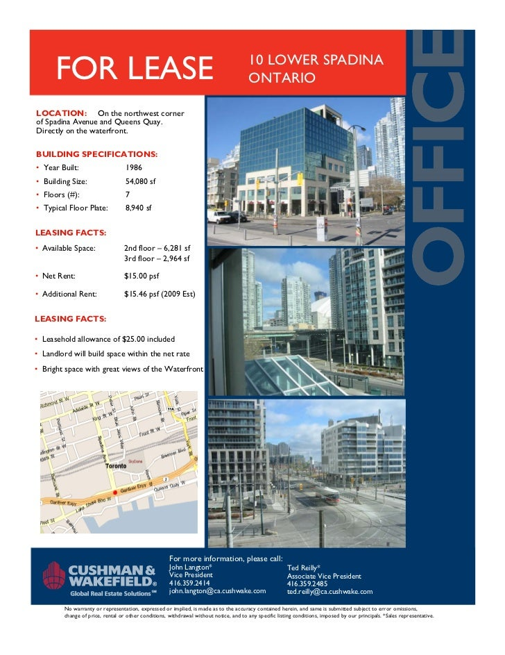 FOR LEASE                                                                         10 LOWER SPADINA                        ...