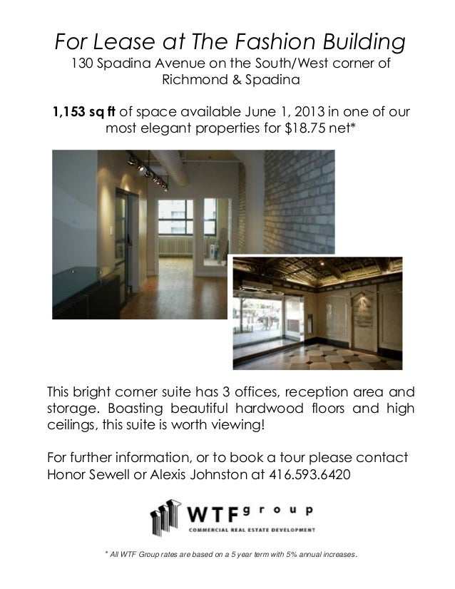 For Lease at The Fashion Building130 Spadina Avenue on the South/West corner ofRichmond & Spadina1,153 sq ft of space avai...